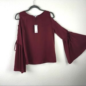NWT Nordstrom Romantic Berry Bell Sleeve Blouse